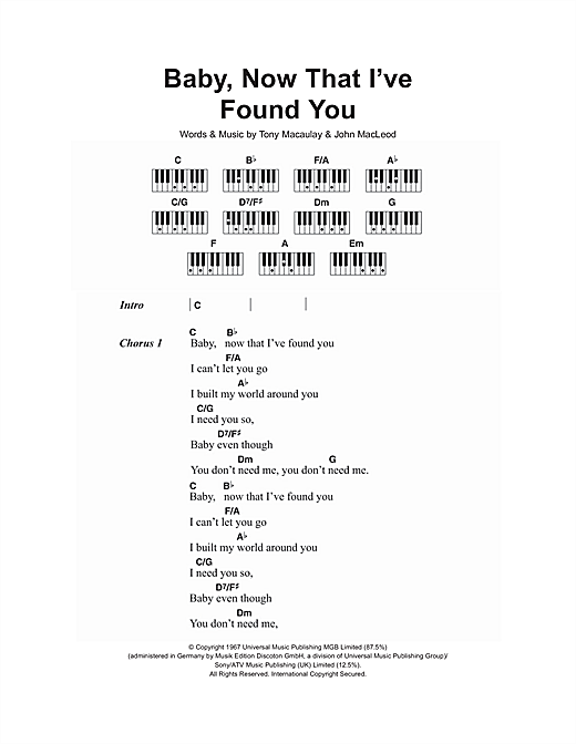 Baby, Now That I've Found You (Piano Chords/Lyrics)