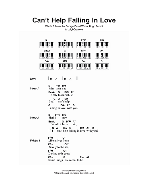 Cant Help Falling In Love Sheet Music By Elvis Presley Lyrics
