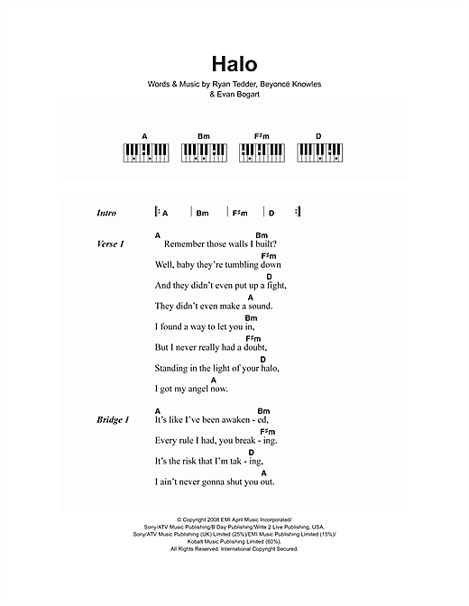 Halo sheet music by Beyoncé (Lyrics & Piano Chords – 106727)