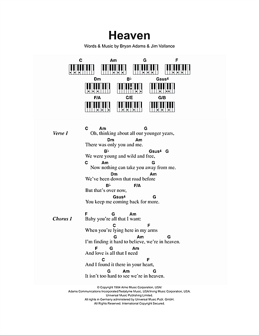 Heaven Sheet Music By Bryan Adams Lyrics Piano Chords 106728