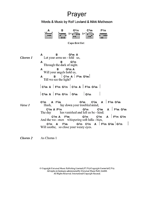 Prayer (Guitar Chords/Lyrics)