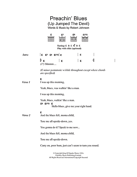Preachin' Blues (Up Jumped The Devil) (Guitar Chords/Lyrics)