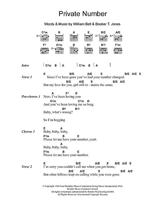 Private Number Sheet Music
