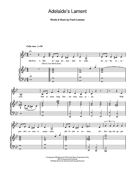Adelaide's Lament Sheet Music