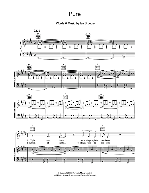 Partition piano Pure de The Lightning Seeds - Piano Voix Guitare