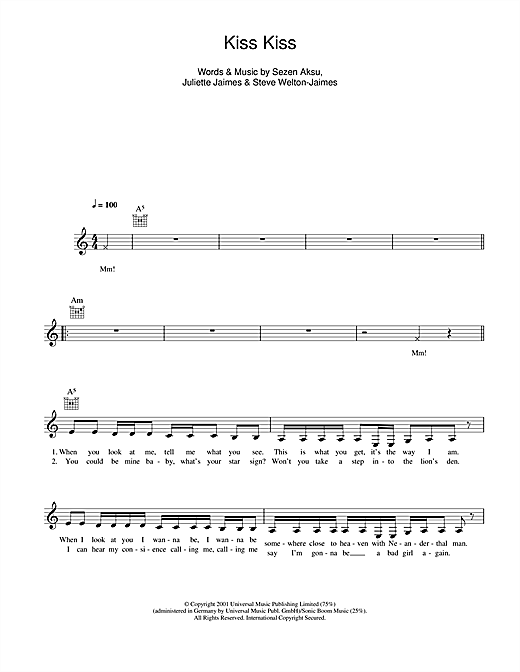 Kiss Kiss Sheet Music