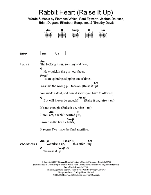 Rabbit Heart (Raise It Up) (Guitar Chords/Lyrics)