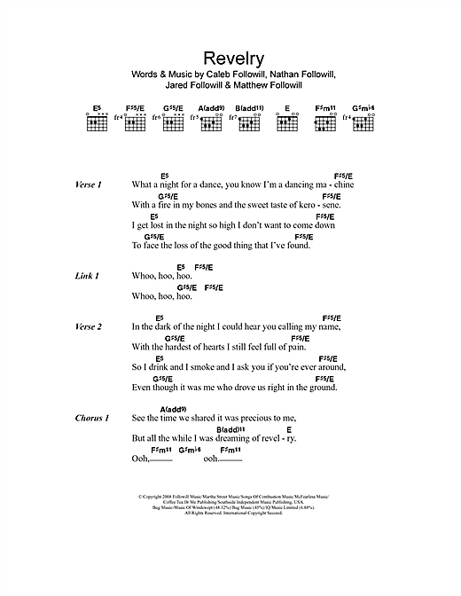 Revelry sheet music by Kings Of Leon (Lyrics & Chords – 106819)