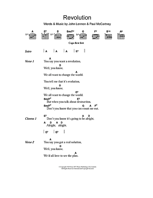 Revolution 1 (Guitar Chords/Lyrics)