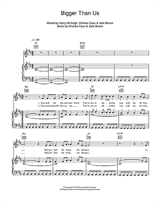 Bigger Than Us Sheet Music