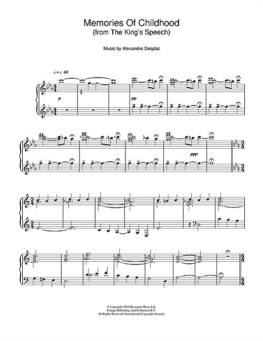 Partition piano Memories Of Childhood (from The King's Speech) de Alexandre Desplat - Piano Solo