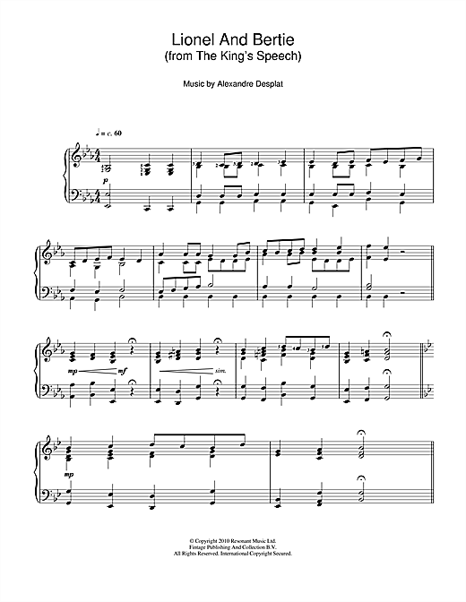 Lionel And Bertie (from The King's Speech) Sheet Music