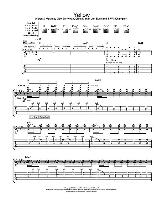 Yellow Guitar Tab by Coldplay (Guitar Tab u2013 106839)