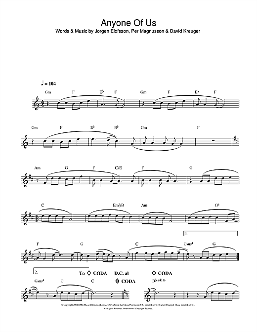 Anyone Of Us (Stupid Mistake) Sheet Music
