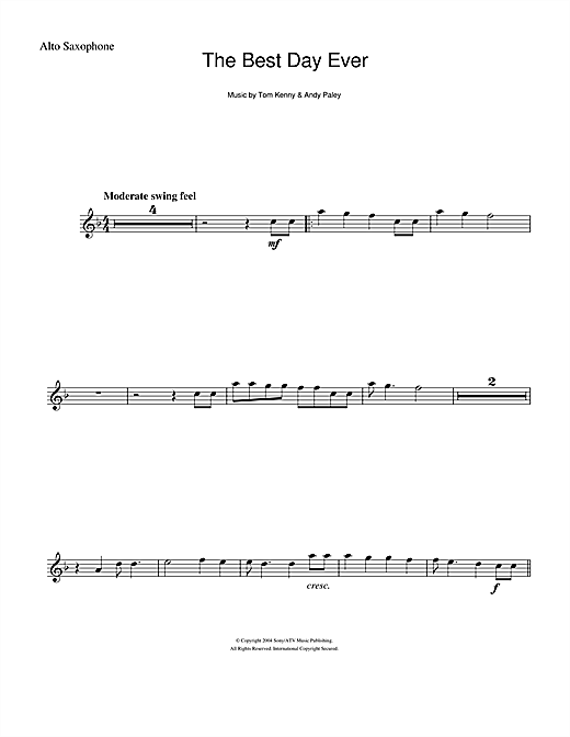 The Best Day Ever (from The SpongeBob SquarePants Movie) (Alto Sax Solo)