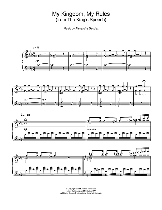 My Kingdom, My Rules (from The King's Speech) (Piano Solo)