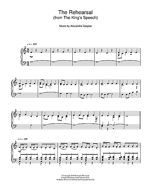 The Rehearsal (from The King's Speech) Sheet Music