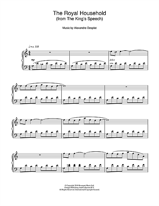 The Royal Household (from The King's Speech) Sheet Music