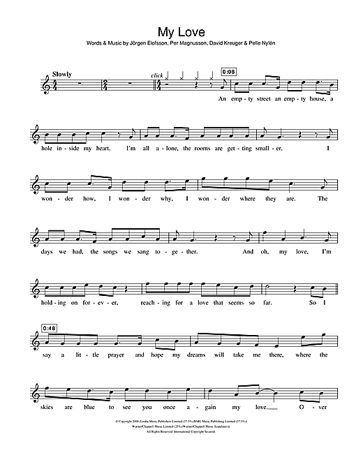 My Love sheet music by Westlife (Violin – 106914)