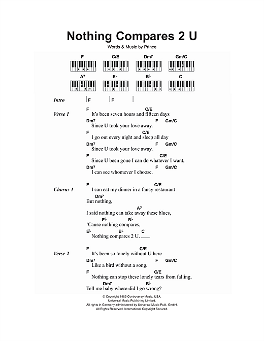 Nothing Compares 2 U Sheet Music By Sinead Oconnor Lyrics Piano