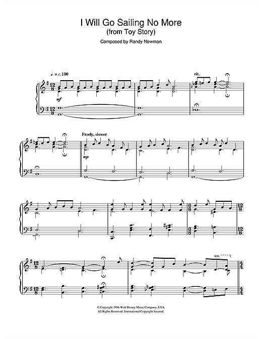 Toy Story (I Will Go Sailing No More) Sheet Music