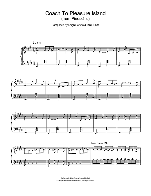 Pinocchio (Coach To Pleasure Island) Sheet Music