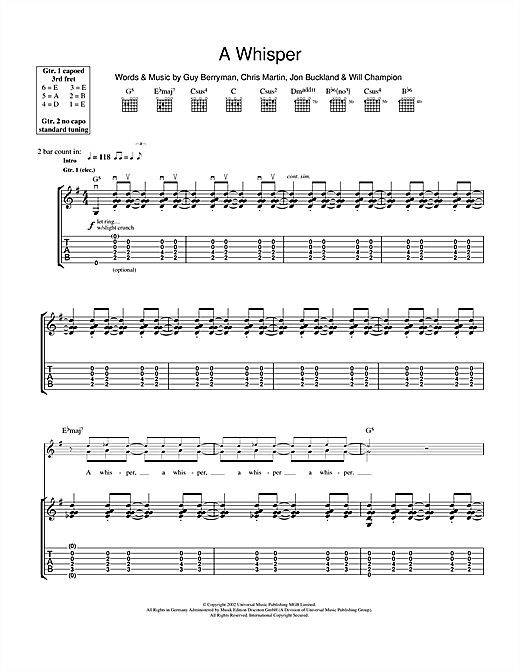 Tablature guitare A Whisper de Coldplay - Tablature Guitare