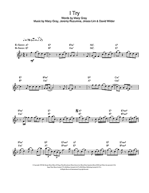 I Try sheet music by Macy Gray (Saxophone – 106980)