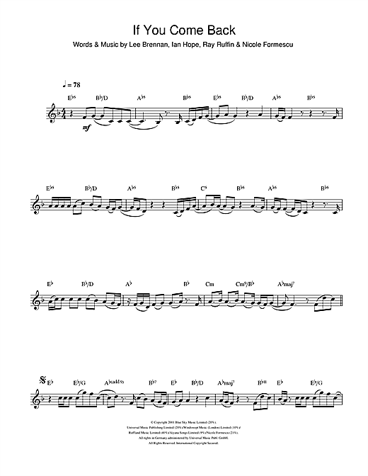 If You Come Back Sheet Music