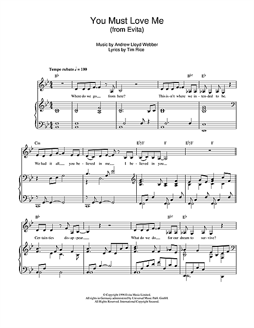 You Must Love Me (from the movie Evita) Sheet Music