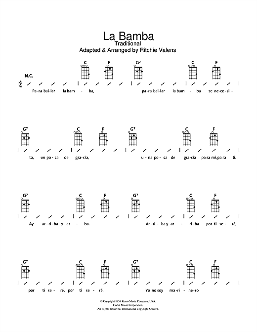 Tablature guitare La Bamba de Los Lobos - Ukulele (strumming patterns)