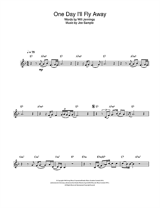 One Day I'll Fly Away Sheet Music