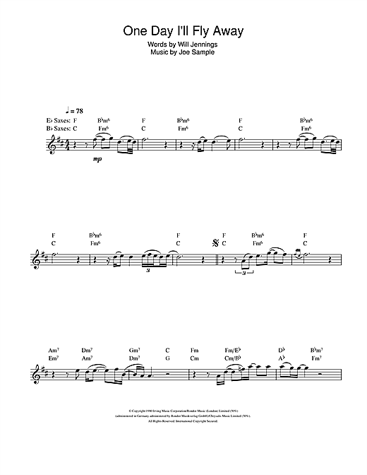 One Day I\'ll Fly Away sheet music by Randy Crawford (Saxophone – 107048)