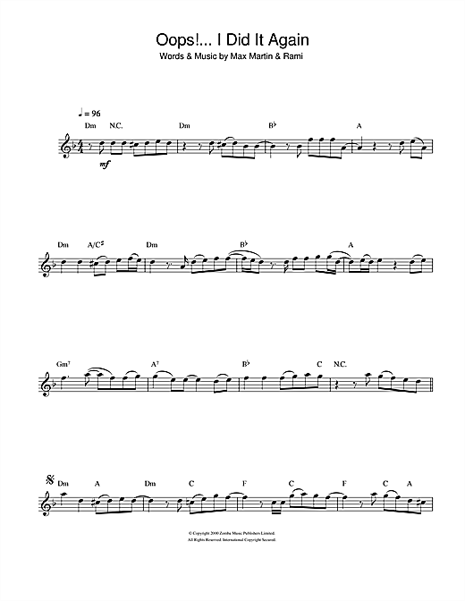 Oops! I Did It Again Sheet Music