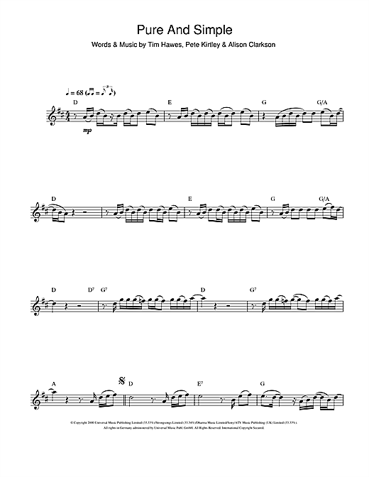 Pure And Simple Sheet Music