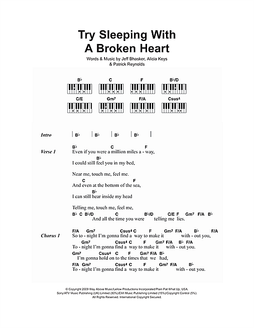 Try Sleeping With A Broken Heart Sheet Music