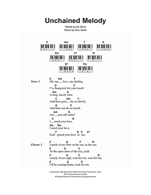 Unchained Melody sheet music by The Righteous Brothers (Lyrics u0026 Piano Chords u2013 107067)