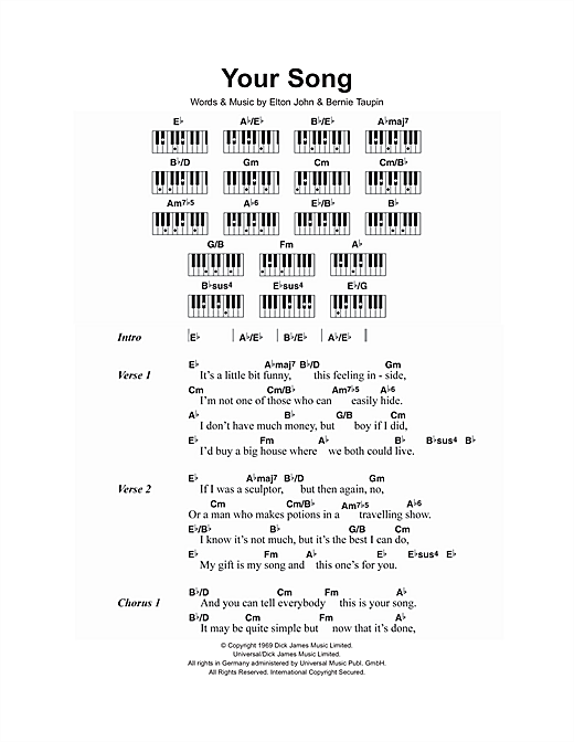 Your Song sheet music by Elton John (Lyrics u0026 Piano Chords u2013 107072)