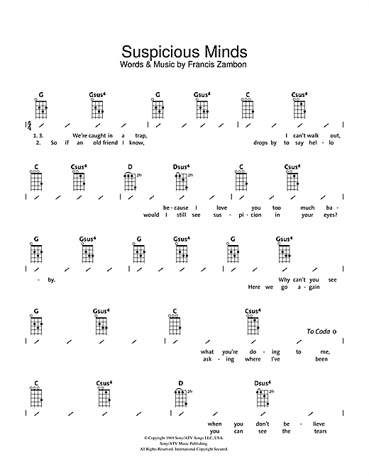 Tablature guitare Suspicious Minds de Elvis Presley - Ukulele (strumming patterns)
