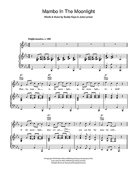 Mambo In The Moonlight Sheet Music