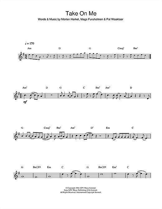 Take On Me Sheet Music