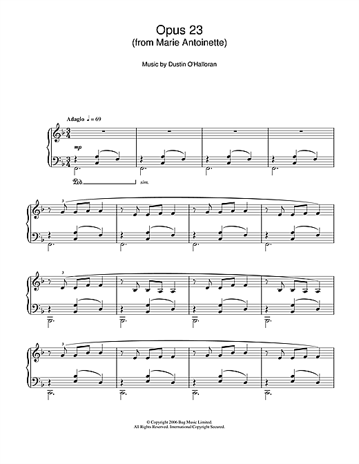 Opus 23 (from 'Marie Antoinette') Sheet Music