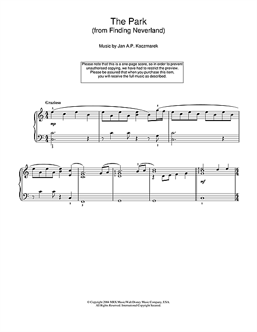 The Park (from Finding Neverland) Sheet Music