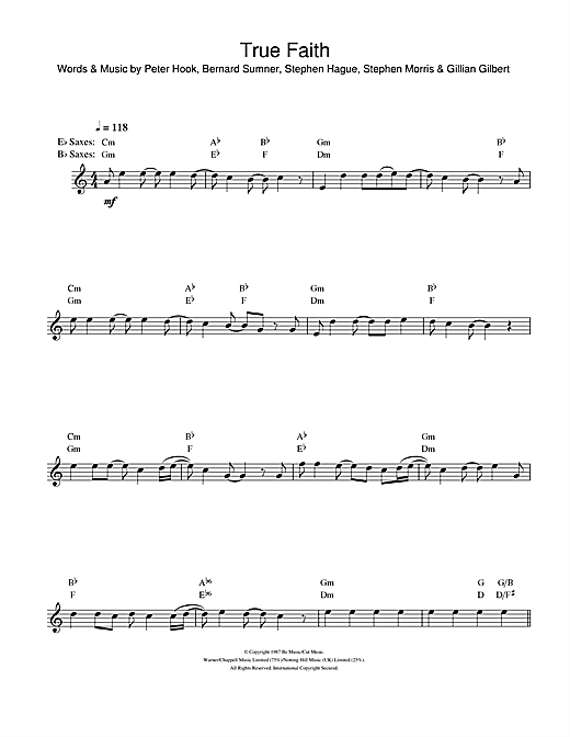 True Faith Sheet Music