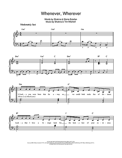 Whenever, Wherever Sheet Music