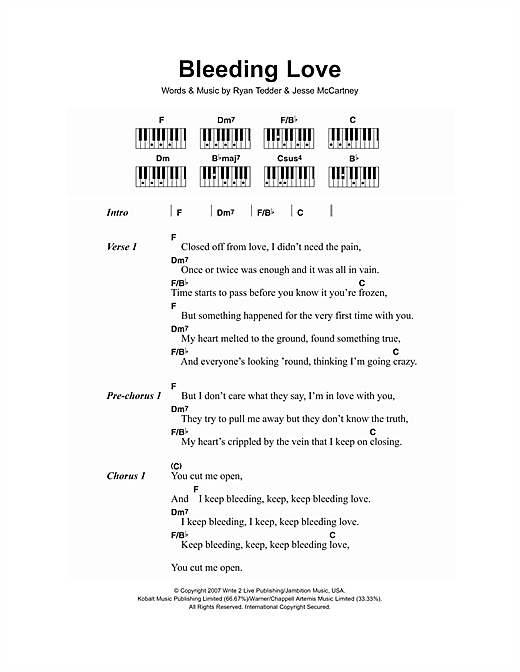 Bleeding Love Sheet Music By Leona Lewis Lyrics Piano Chords