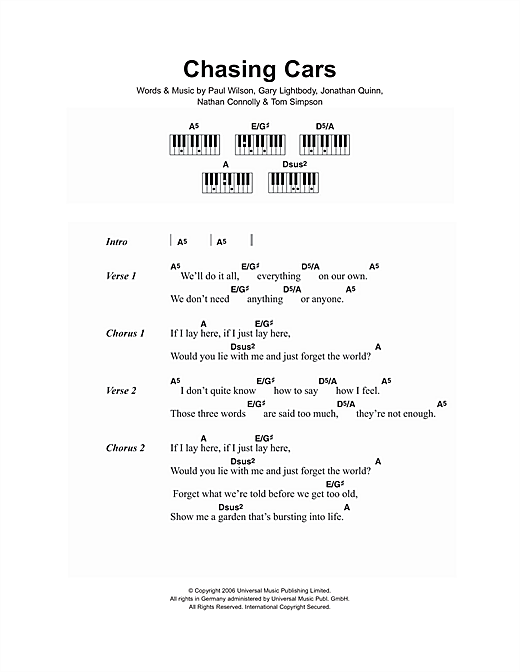 Piano piano chords with letters : Chasing Cars sheet music by Snow Patrol (Lyrics & Piano Chords ...