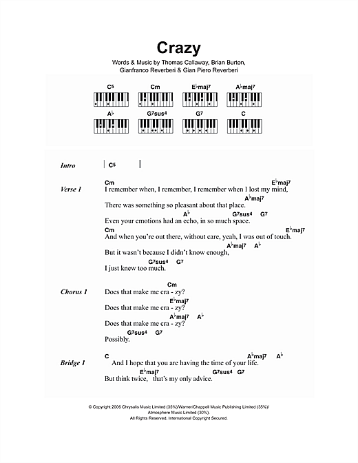 Crazy Sheet Music By Gnarls Barkley Lyrics Piano Chords 107155