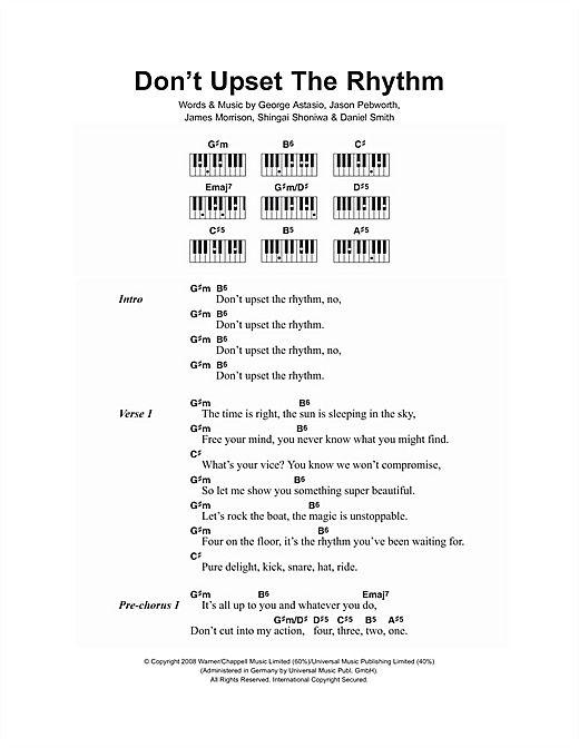 Don't Upset The Rhythm (Piano Chords/Lyrics)