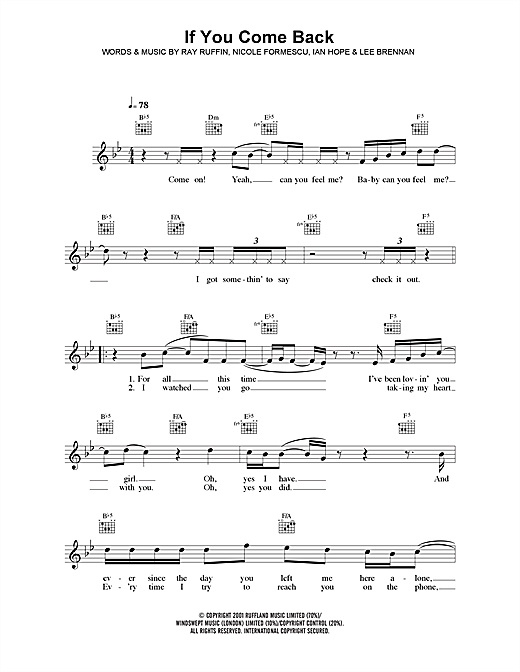 If You Come Back (Lead Sheet / Fake Book)